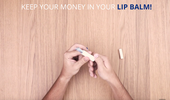 money inside lip balm