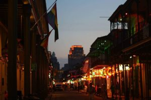 a dusk shot of bourbon street in new orleans