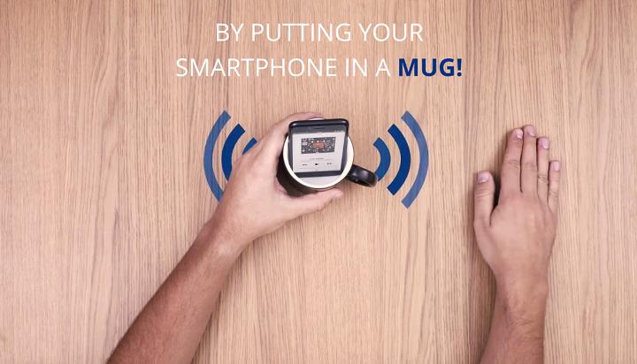 smartphone inside mug