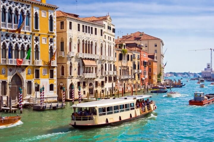 vaporetto ride in venice canal - italy
