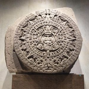 an ancient sundail at the museo nacional de antropologia in mexico city