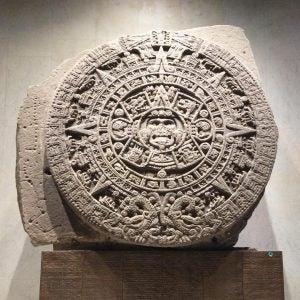 an ancient sundail at the museo nacional de antropologia in mexico city