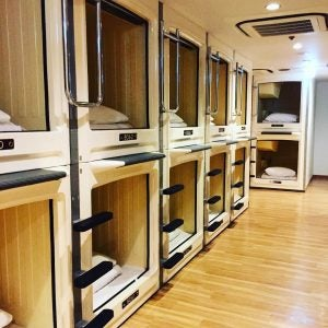 a capsule hotel in shinjuku tokyo