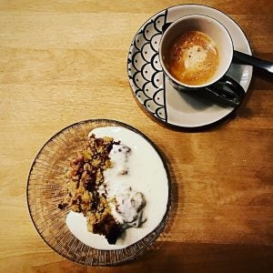 fika coffee and crumble cake in stockholm