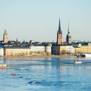 stockholm harbour in winter