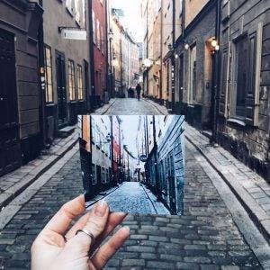 a cobblestone street in the gamla stan old centre in stockholm