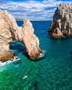 jagged cliffs towering out of the sea near los cabos
