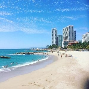 the puerto vallarta skyline with beachside view