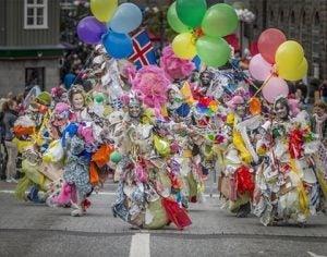 a traditional icelandic parade in reykjavik