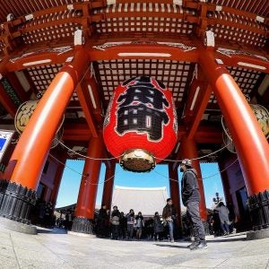 the massive paper lantern entrance at sensoji temple tokyo