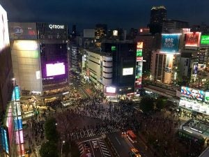 an overhead view of shibuya crossing japan
