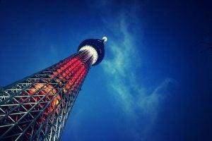 an illuminated sky tree in tokyo