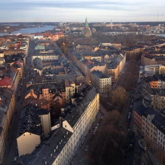 an aerial view of the sodermalm district in stockholm