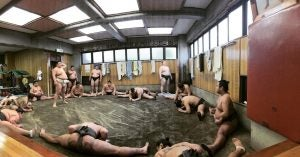 sumo wrestlers train at hakkaku sumo stable tokyo japan