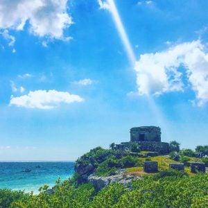 tulum fortess on a sunny day over the caribbean sea