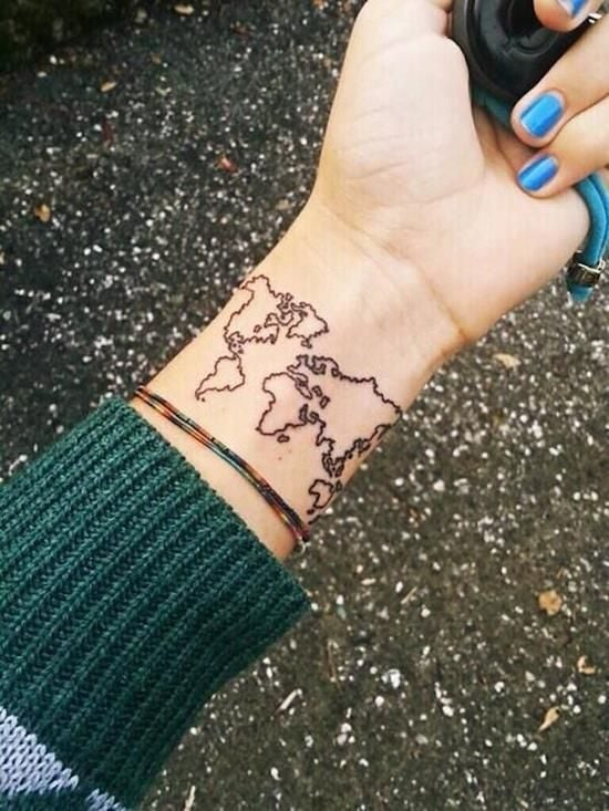 Hand map tattoo