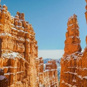 snow covered hoodoos in bryce canyon national park