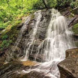 a waterfall at great smoky mountains