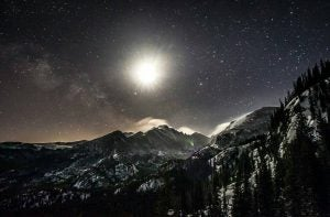 the moonlight and stars at rocky mountain national park