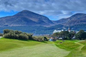 the clubhouse and mountains at royal country down golf club ireland