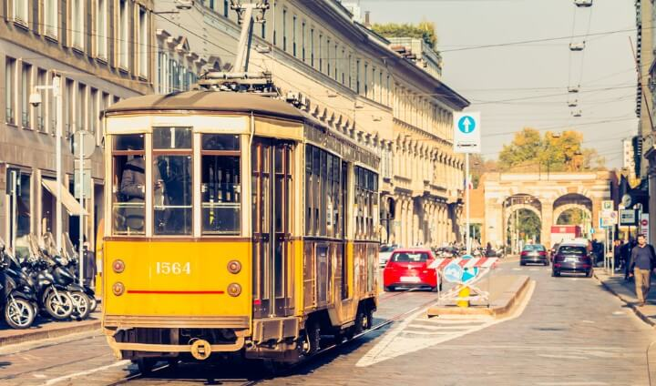 Milans orange emblematic trams - italy