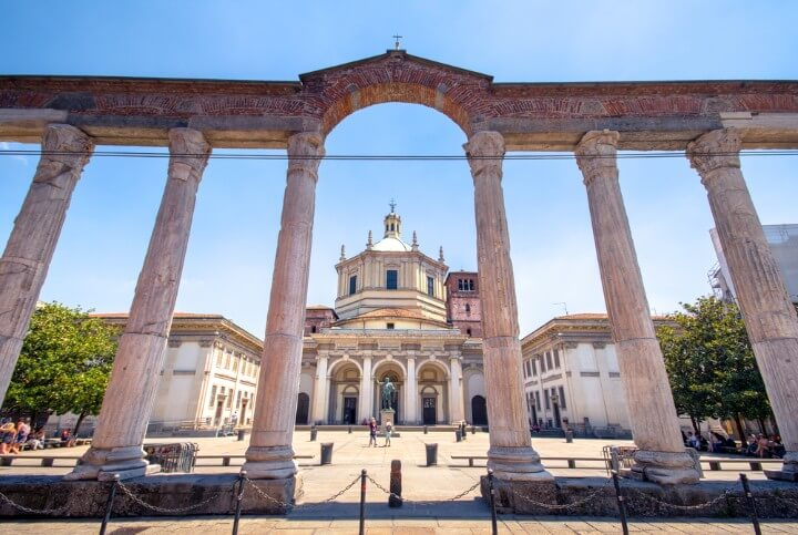 columns in front of the Basilica di San Lorenzo in milan - italy