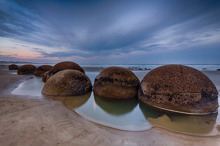 Koekohe Beach with rocky spheres in New Zealand
