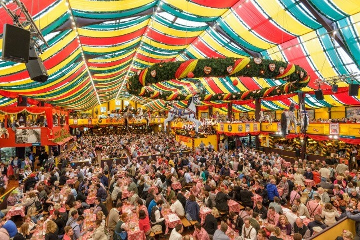 beer hall tent at oktoberfest