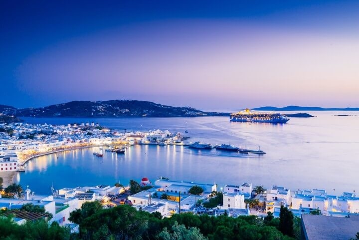 Mykonos view at night