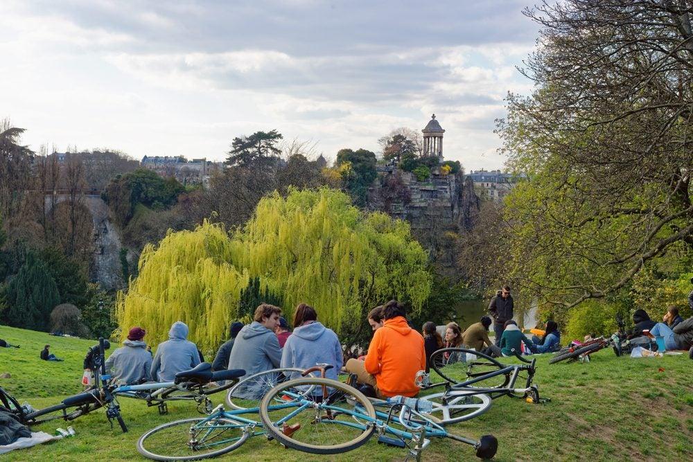 The best views in paris at the Parc des Buttes-Chaumont.