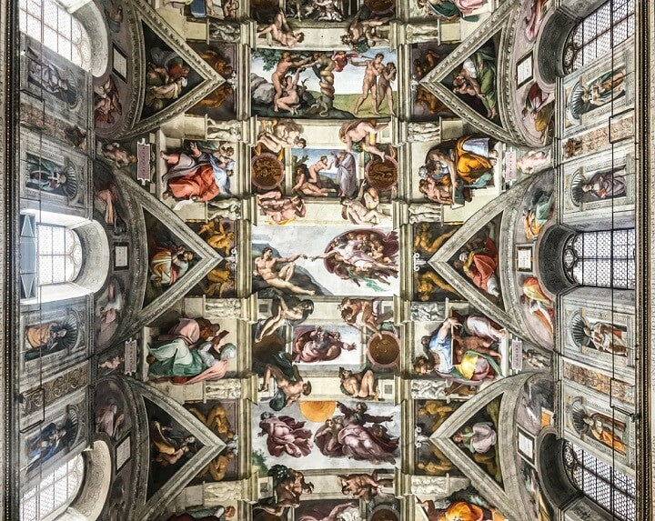 Ceiling of the Sistine chapel in the Vatican Museum - rome - italy