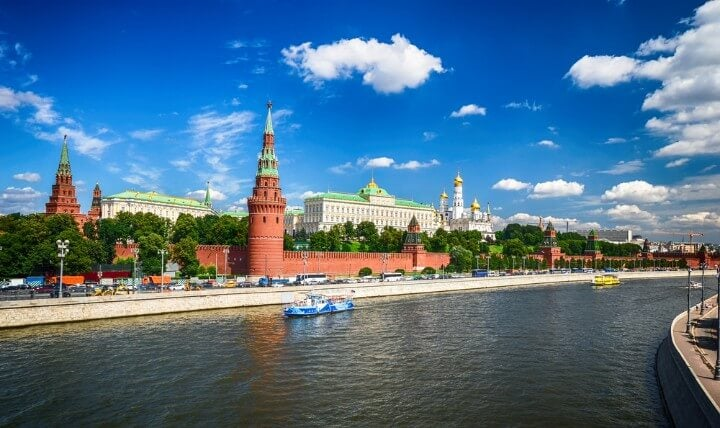 View of the Kremlin from the bridge in moscow