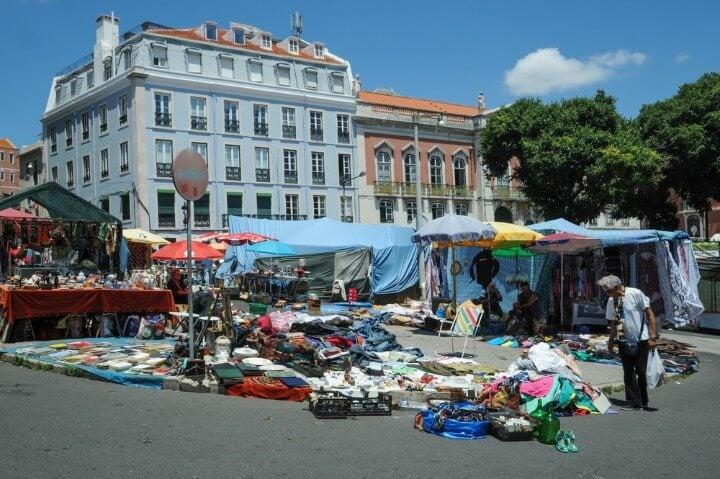 feira da ladra flea market in lisbon - portugal