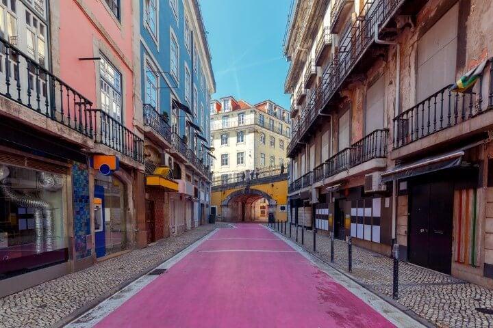 pink street in lisbon - portugal