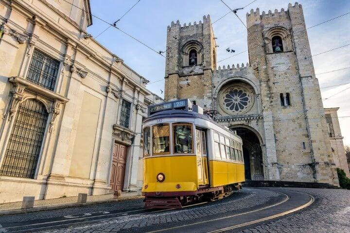 tram 28 in lisbon - portugal
