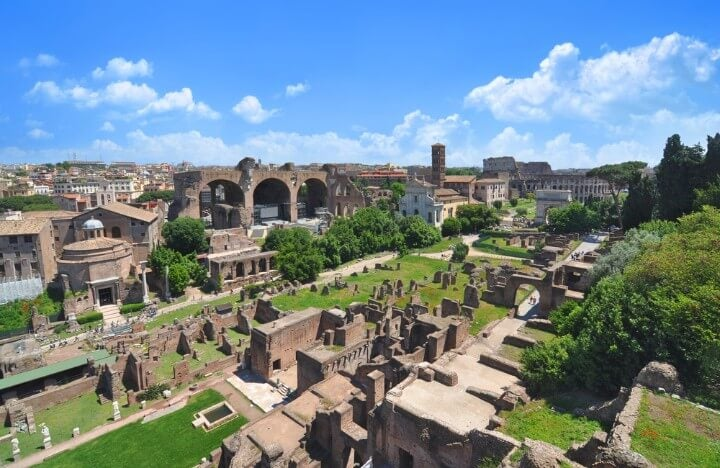 view of the forum from the Palatine Hill in rome - italy