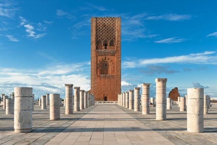 Hassan tower in rabat morocco