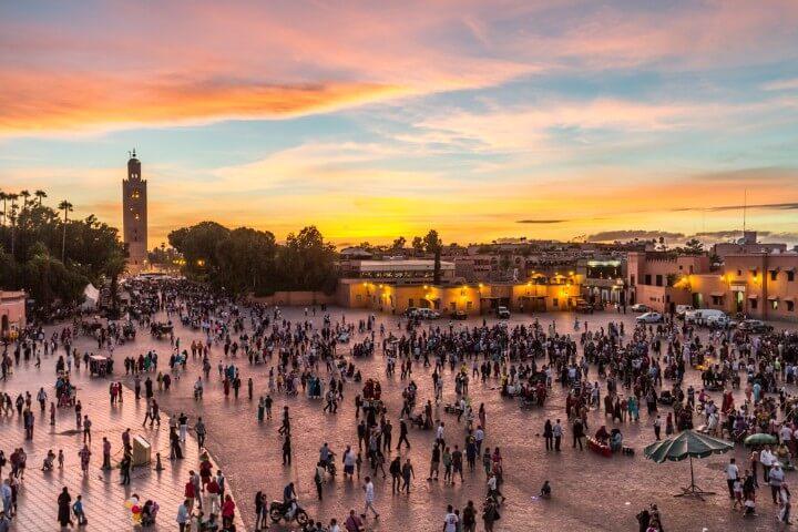 Jamaa el Fna market square in Marrakesh - Morocco