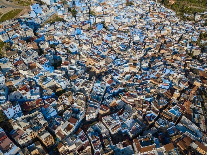 aerial view of Chefchaouen