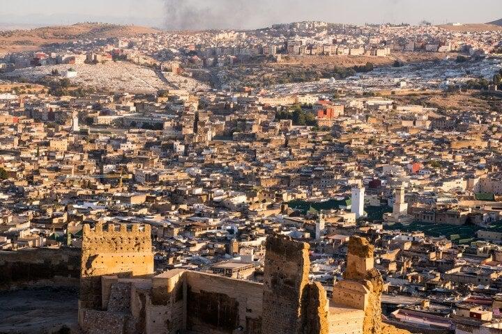 fez medina aerial view - morocco