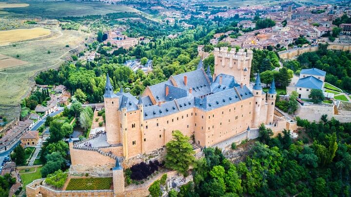 aerial view of the alcazar of segovia in spain
