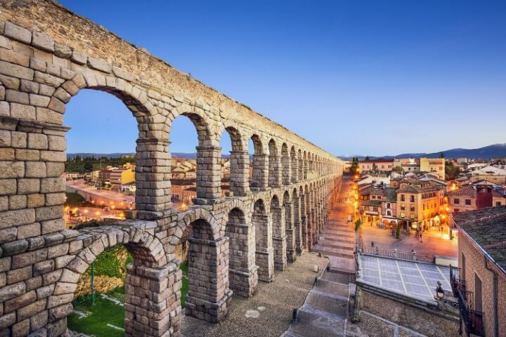 ancient Roman aqueduct in segovia in spain