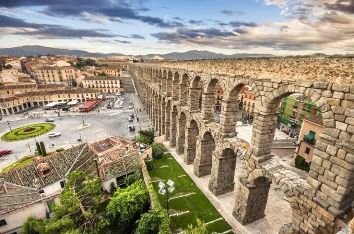 ancient Roman aqueduct in segovia - spain