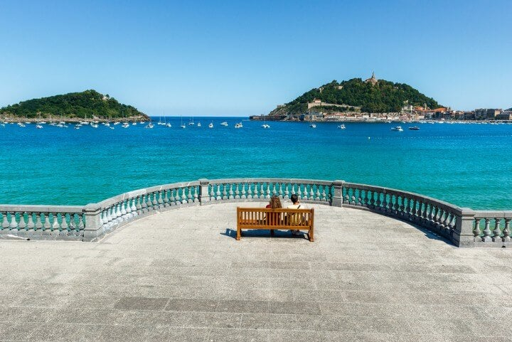 The Concha Promenade in San Sebastian, Spain