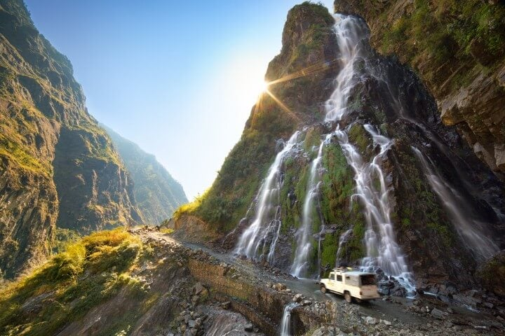 Roadside waterfall in Nepal - Himalayas - Annapurna Conservation Area