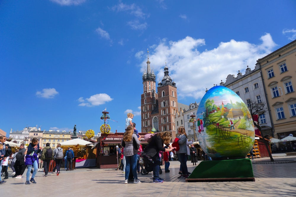 Great Market Square in Krakow, Poland and its famous Easter market