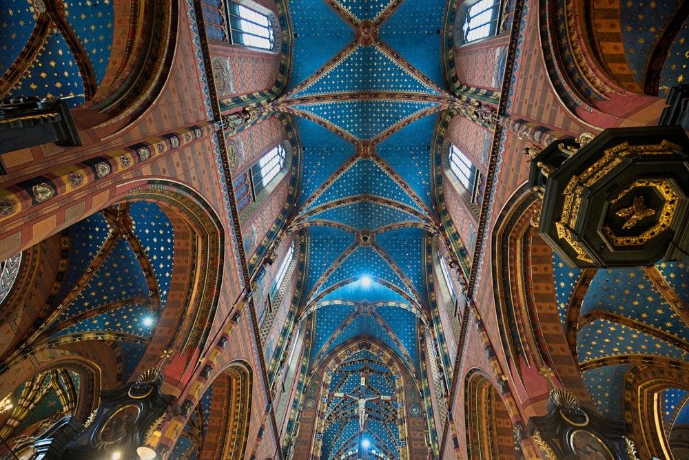 Inside of Saint Mary's Basilica of Krakow, Poland