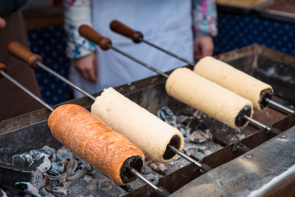 Kürtőskalács also called chimney cakes cocked in charcoals