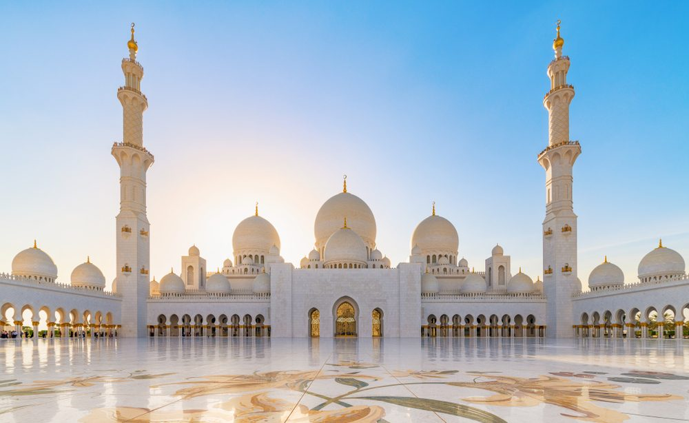 Sheikh Zayed Grand Mosque in Abu Dhabi, the largest mosque in the United  Arab Emirates