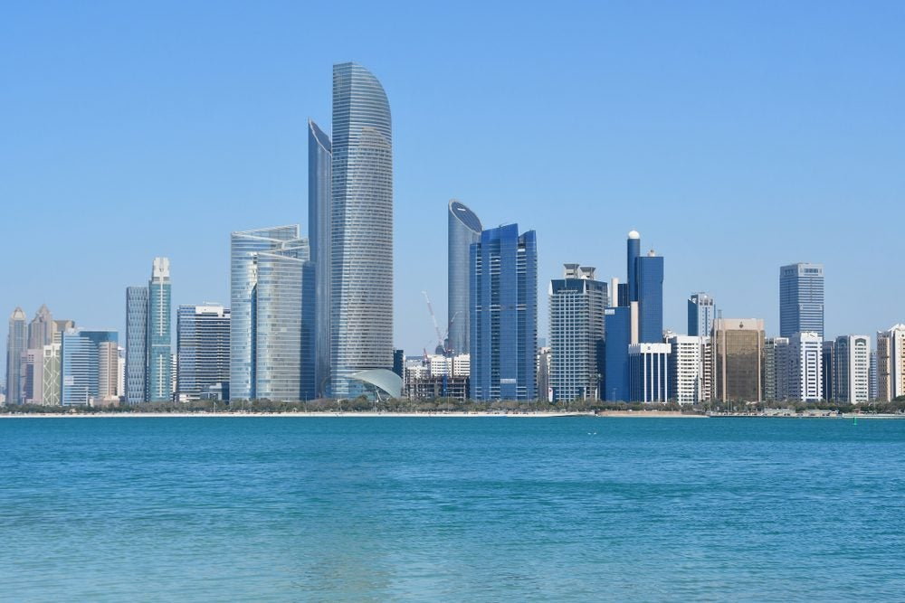 Abu Dhabi's skyline with skyscrapers from the Persic Gulf.